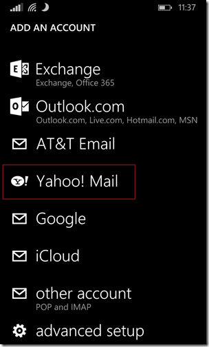 Sync Yahoo email